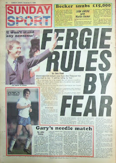 Back cover page of the Sunday Sport from 6th Dec 1986