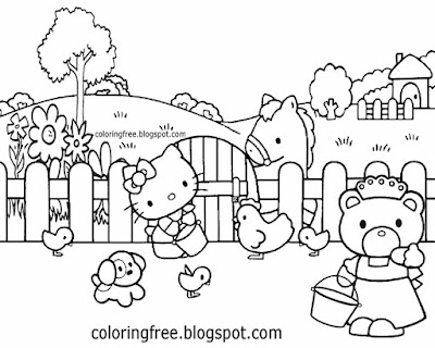 Feeding farmyard chickens free coloring dog and cat Hello Kitty drawing for teenagers to color in