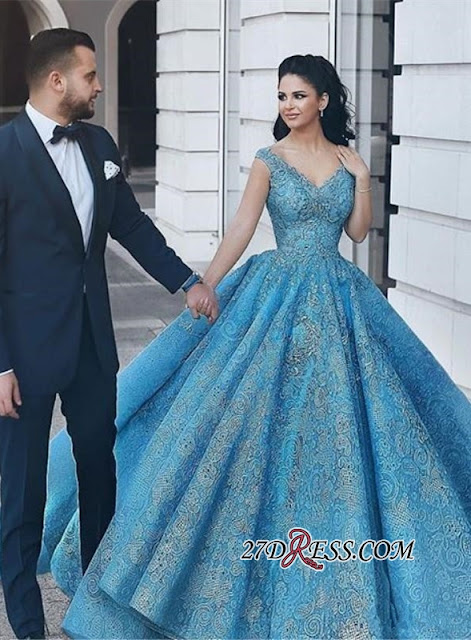 Gorgeous Blue Lace Ball Gown Evening Dress | Cap Sleeve Party Gown