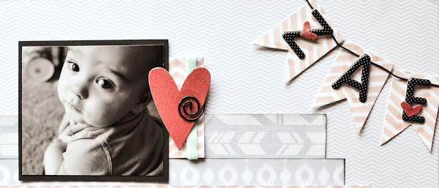 Scrapbook layout with chevron papers, heart embellishments, two photos, thickers, and journaling with bunting banner title - done in grey, peach pink, and sage green with pops of red.