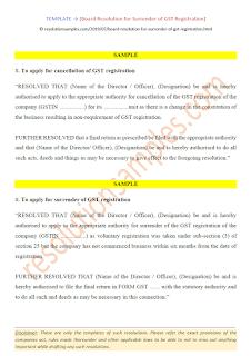 board resolution for surrender of gst registration