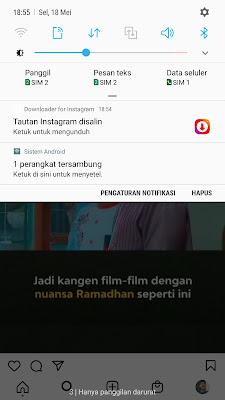 notifikasi download video instagram