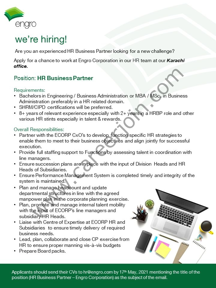 Latest Engro Corporation Limited Jobs 2021 in Pakistan For HR Business Partner Post - Apply via hr@engro.com