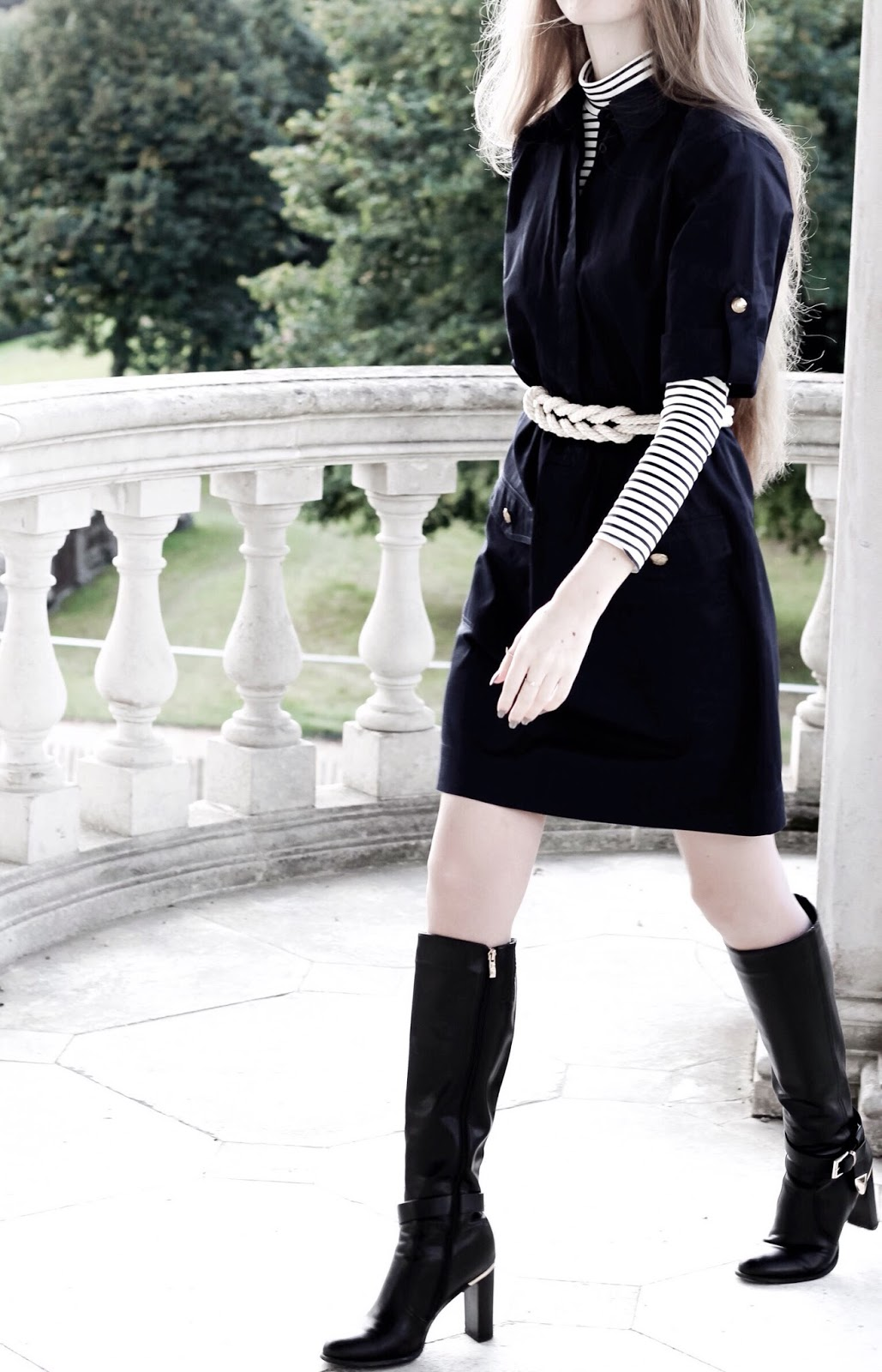 How to Autumn Style Layer a Shift Dress With Polo neck and Belt