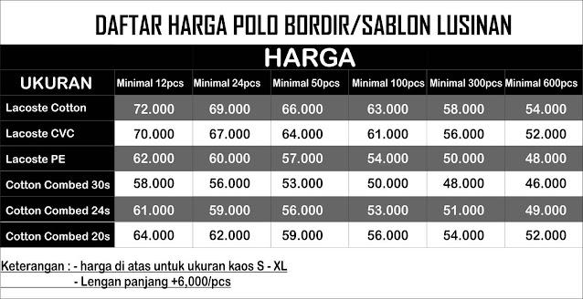 daftar harga kaos polo shirt atau tshirt polo di overhem sablon jogja