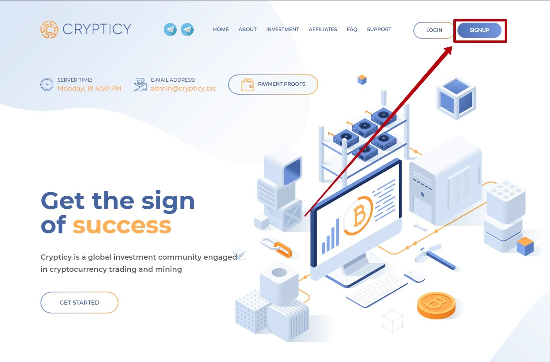 Регистрация в Crypticy