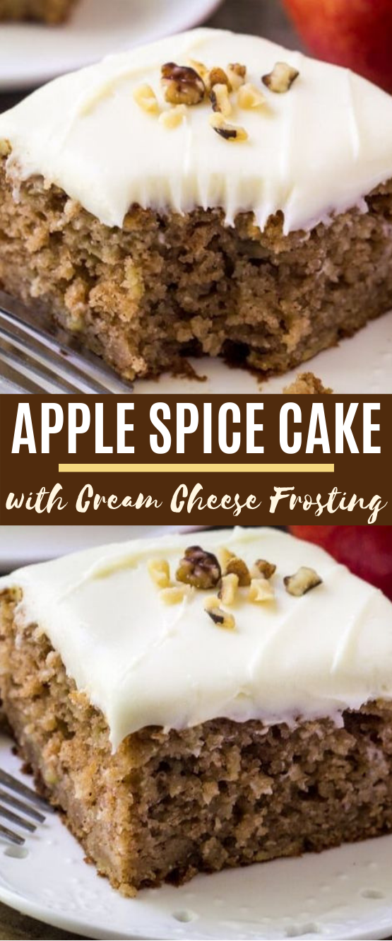 Apple Spice Cake with Cream Cheese Frosting #cake #desserts #fall #apple #baking