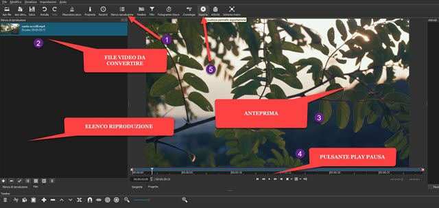 conversione di video in audio con shotcut