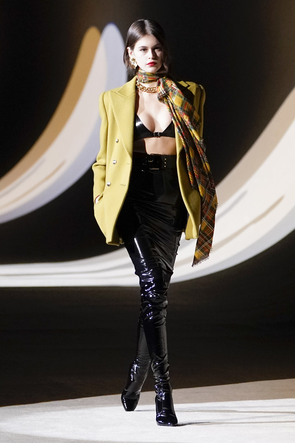 Kaia Gerber walks the runway during the Saint Laurent show as part of the Paris Fashion Week Womenswear Fall/Winter 2020/2021