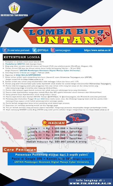 Kontes Blog SEO UNTAN 2020, Total Hadiah 12 JUTA Rupiah