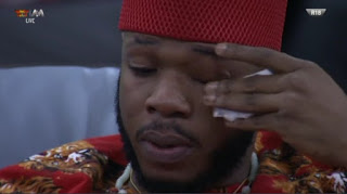 Bbnaija: Frodd In Tears After He Escaped Eviction (photo)