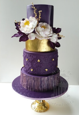 wedding cake gold leaf purple lila