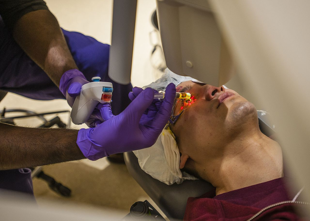 The ultimate goal of a crosslinking treatment is to strengthen the cornea, which in turn slows or stops the disease's progression, but some patients will also see an improvement in the quality of their vision and a mild decrease in the amount of correction needed after treatment. (Photo: Reese Brown/DoD)