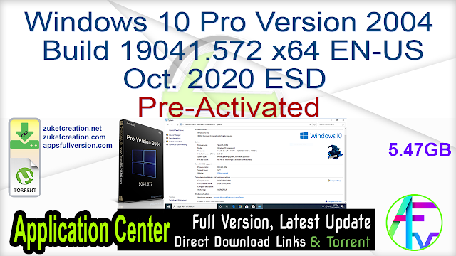 Windows 10 Pro Version 2004 Build 19041.572 x64 EN-US Oct. 2020 ESD Pre-Activated