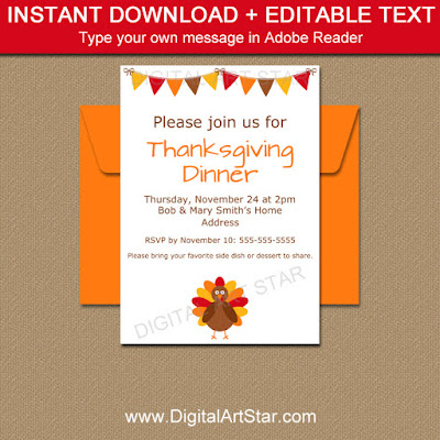 Editable Thanksgiving Birthday Invite