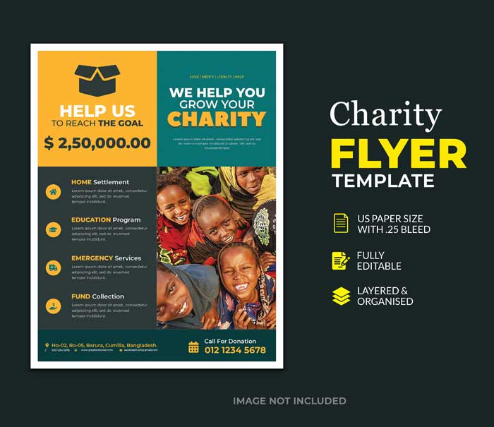Charity Donation Flyer PSD Template