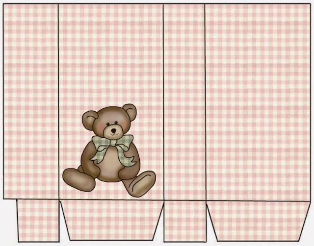 Caja con Osito de Peluche en Cuadros Rosa para Imprimir Gratis.