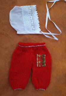 conjuntode calça tricotada e gorro vintage para fotografias newborn