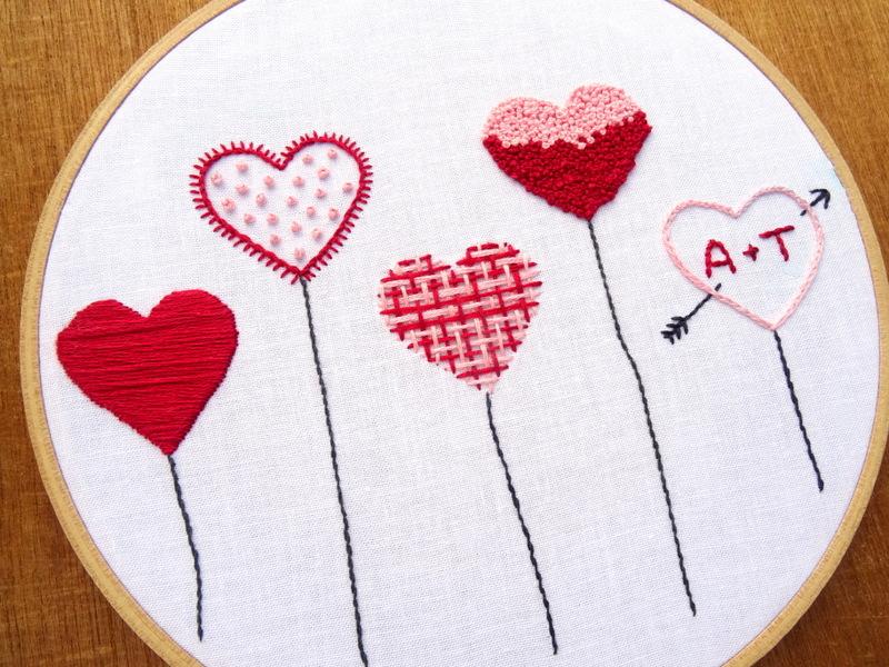 Hoàn thành 5 mẫu thêu trái tim tuyệt đẹp