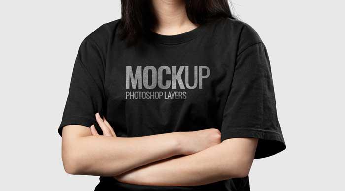 Black T-Shirt Realistic Mockup