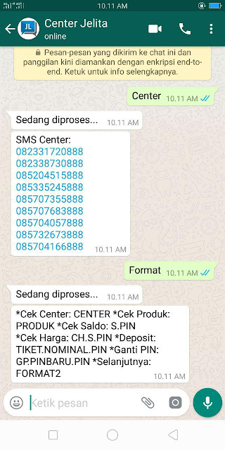 CaraTransaksi Pulsa Via WhatsApp di Server Jelita Reload