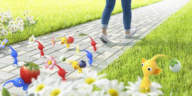 Pikmin mobile app key art augmented reality Nintendo Niantic walking