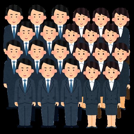 リクルートスーツを着た就活生たちのイラスト(コピペ)