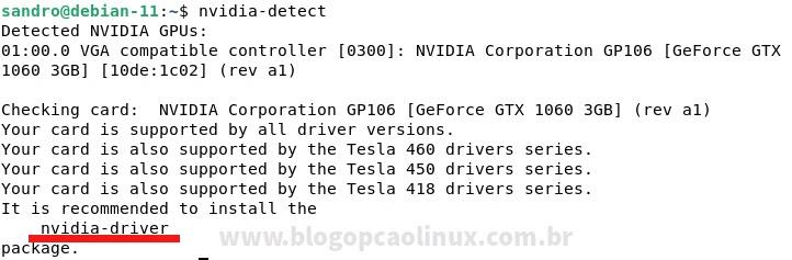 Resultado da execução do script 'nvidia-detect'
