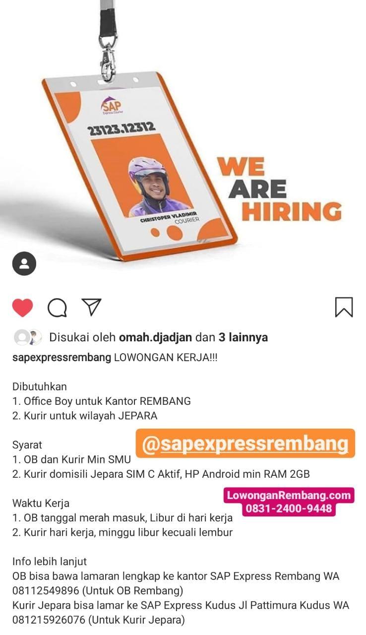 Lowongan Kerja Office Boy Jasa Ekspedisi SAP Express Rembang