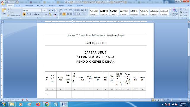 Contoh Formulir Permohonan pengajuan Karis Karsu Taspen