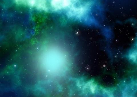 Imagen de un Universo verde oscuro. Teoría sobre el movimiento.