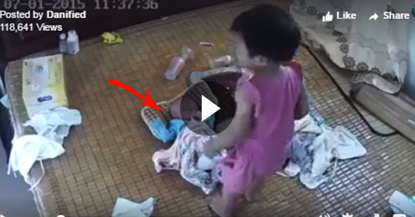 Hair-Raising Video Of A Toddler Taking Care Her Infant Sibling Goes Viral Online