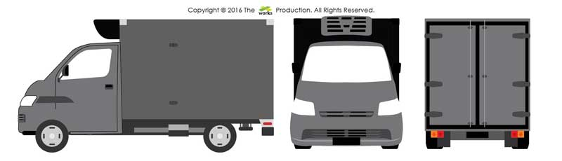 AI CS3, vector lorry, front, back, side view