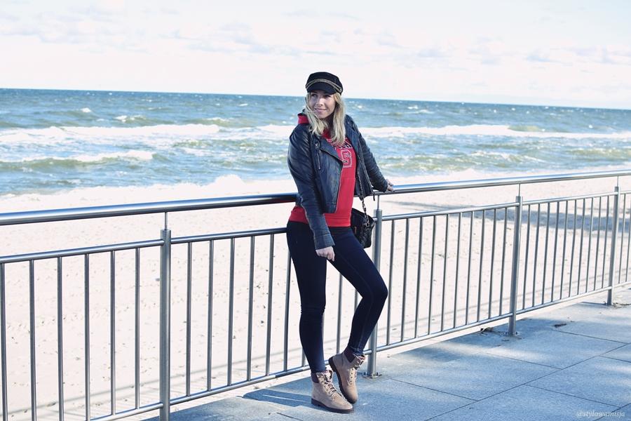 moda, morze, traperki, brilu, brilupl, kurtka, bluza, jeansy, czapka, casual,