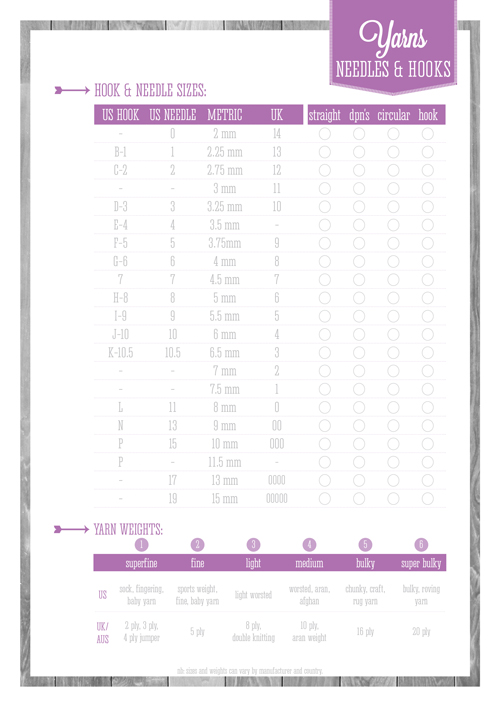 Free Printable Yarns, Needles and Hooks Chart