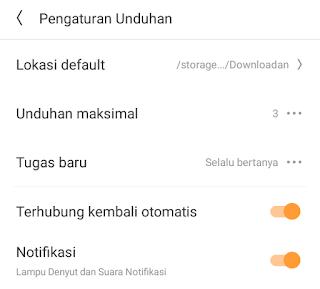mengubah lokasi download uc browser