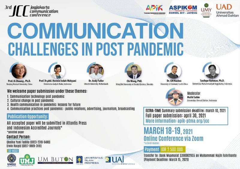 Dosen Prodi Ilmu Komunikasi FISIP Universitas Muhammadiyah Prof.DR. Hamka Mendapatkan Penghargaan sebagai Best Presenter Di Jogjakarta Communication Conference 2021