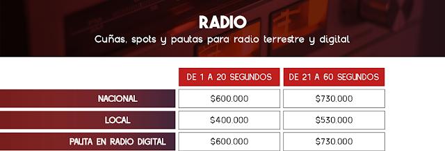 Tarifas de Locución en Cuñas de Radio - Colombia 2021