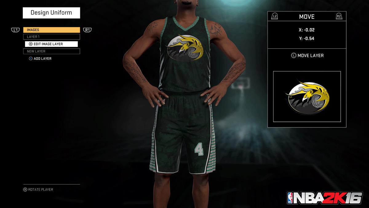 NBA 2k16 MyGM, MyLeague Modes : Design Uniform