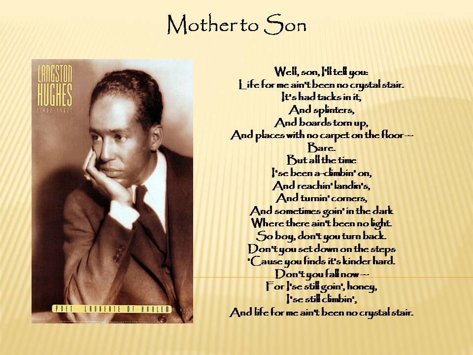 """BLACK POLITICAL BUZZ....: """"Mother To Son"""" Poem by Langston ..."""