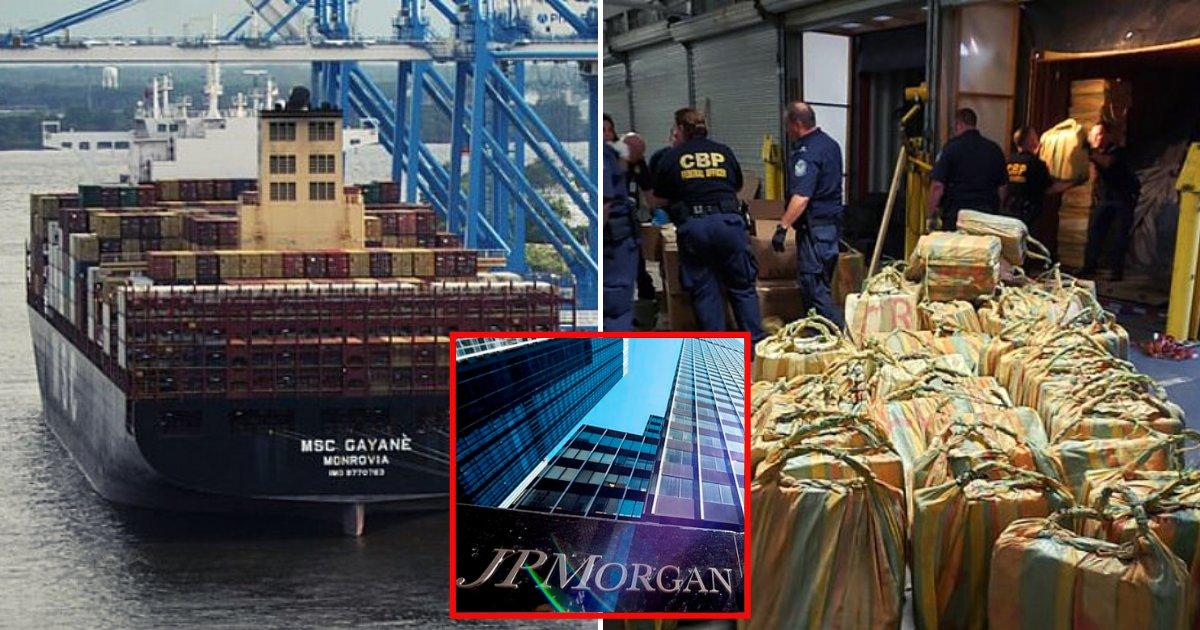 En 2019 los gringos aseguraron 1,300 millones de dólares de cocaína en un barco de la financiera JP Morgan, la que anunció se retira de la banca privada en México