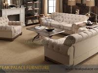 Sofa tamu antik mewah model Chesterfield sandaran tinggi
