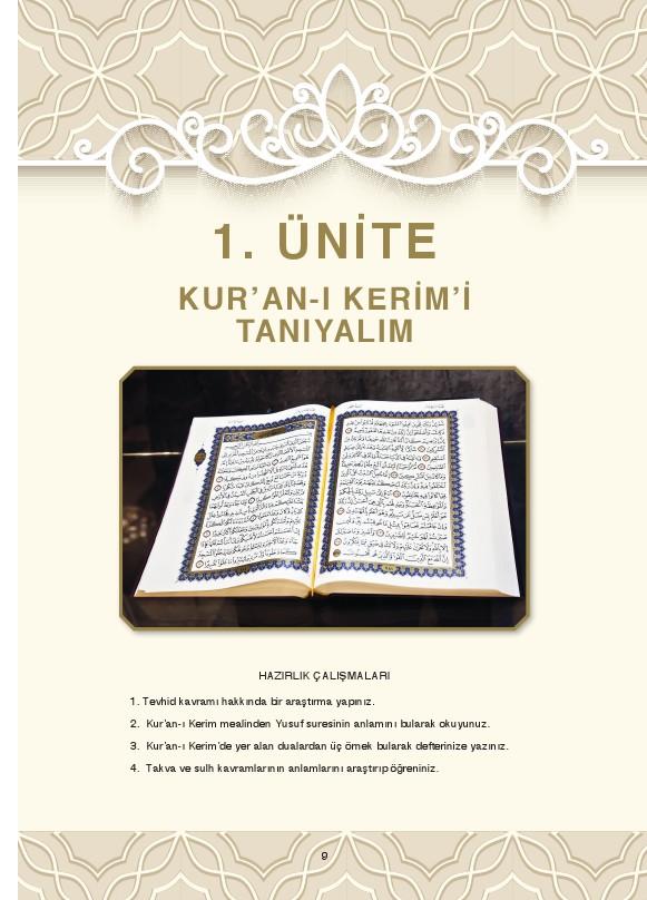 8. Sınıf Kuranı Kerim Ders Kitabı Cevapları Dikey Yayınları Sayfa 9