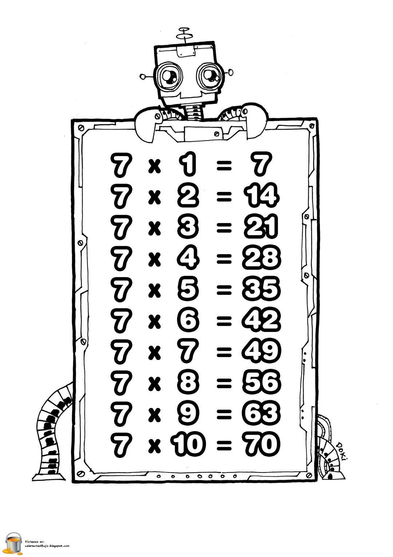 COLOREA TUS DIBUJOS: Tabla de multiplicar del numero 7 para colorear ...