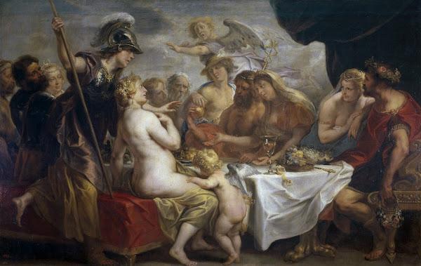 Wedding of Peleus and Thetis by Jacob Jordaens , classical mythology, Greek mythology, Roman mythology, mythological Art Paintings, Myths and Legends