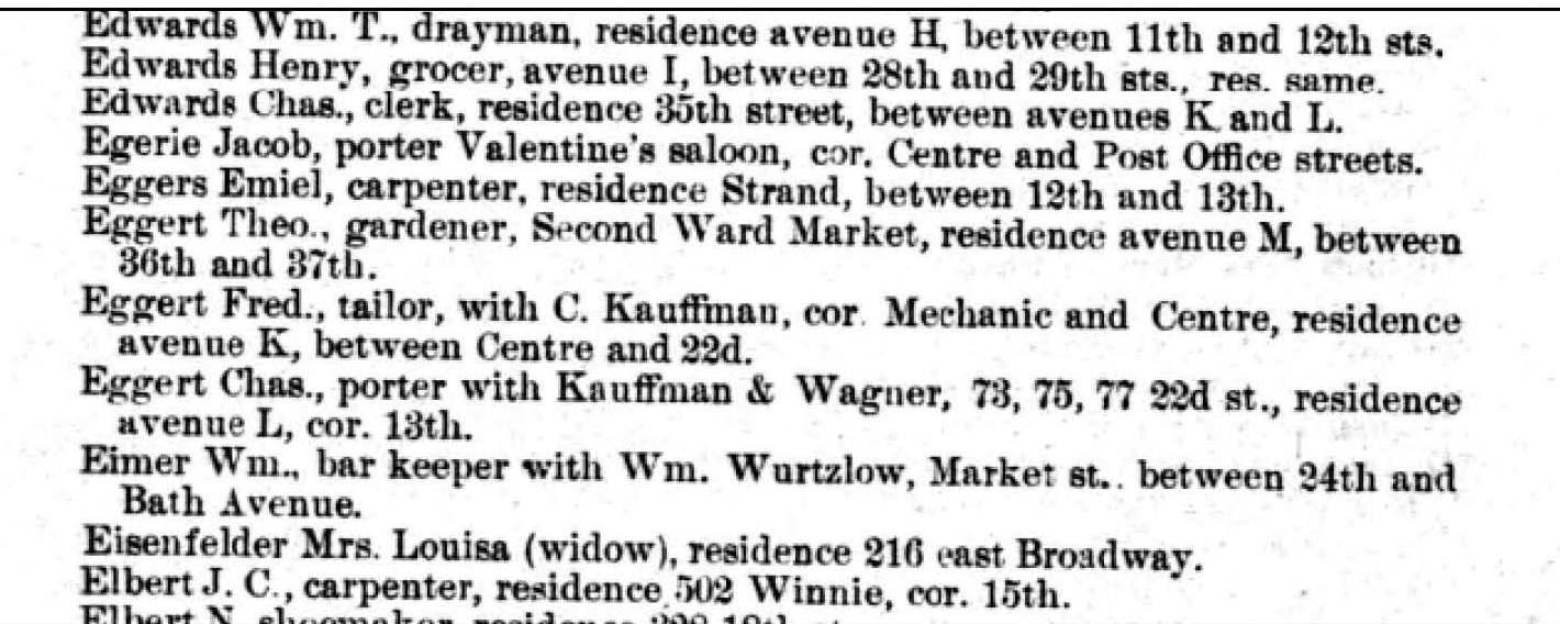 Ancestorpuzzles william c eggert pilot and ship captain 1872 galveston city directory aiddatafo Choice Image