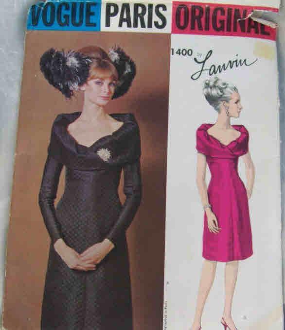 Vintag Vogue Paris Original 1400 Sewing Pattern Designer Lanvin Evening  Dress