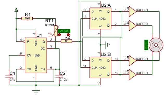 Implementasi sensor PTC dengan Motor Stepper