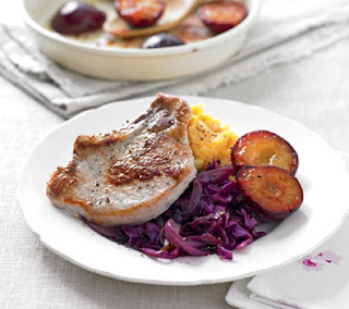 pork steaks with glazed plums and red cabbage recipe