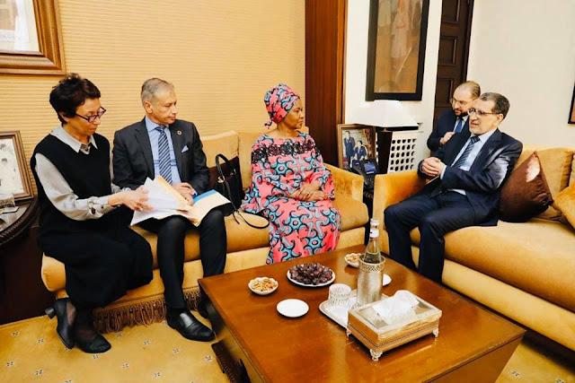 العثماني يستقبل بومزيلي ملامبو نغوكا، Mme Phumzile Mlambo - Ngcuka نائبة الأمين العام لهيأة الأمم المتحدة بالرباط